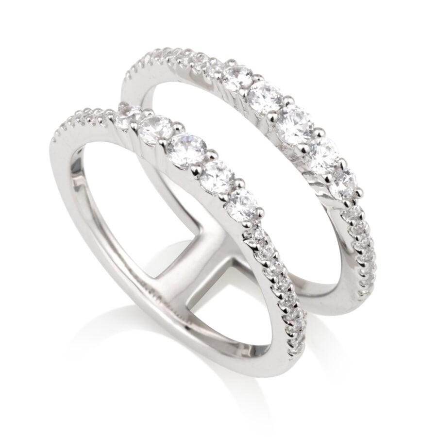 טבעת שתי רצועות דקות משובצות