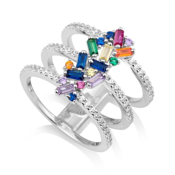 סט- עגילים וטבעת משובצים באגטים