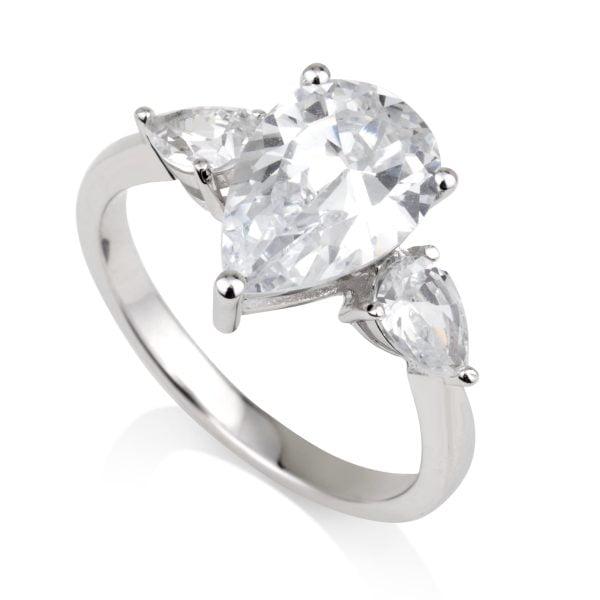 טבעת אירוסין אבן זרקוניה טיפה ואבנים בצד