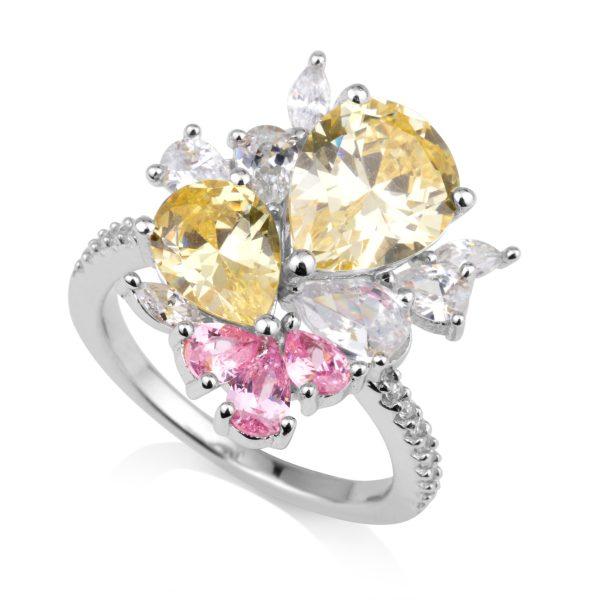 טבעת משובצת זרקונים ורוד וצהוב