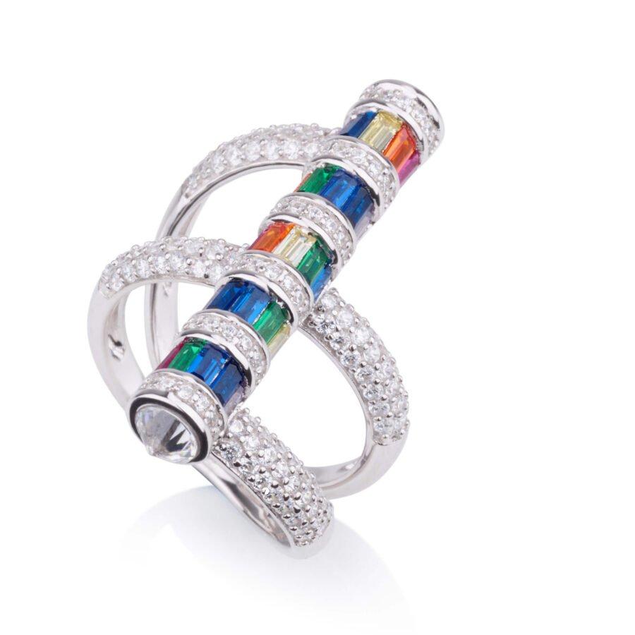 טבעת מטפסת מוט משובץ COLOUR GLAM