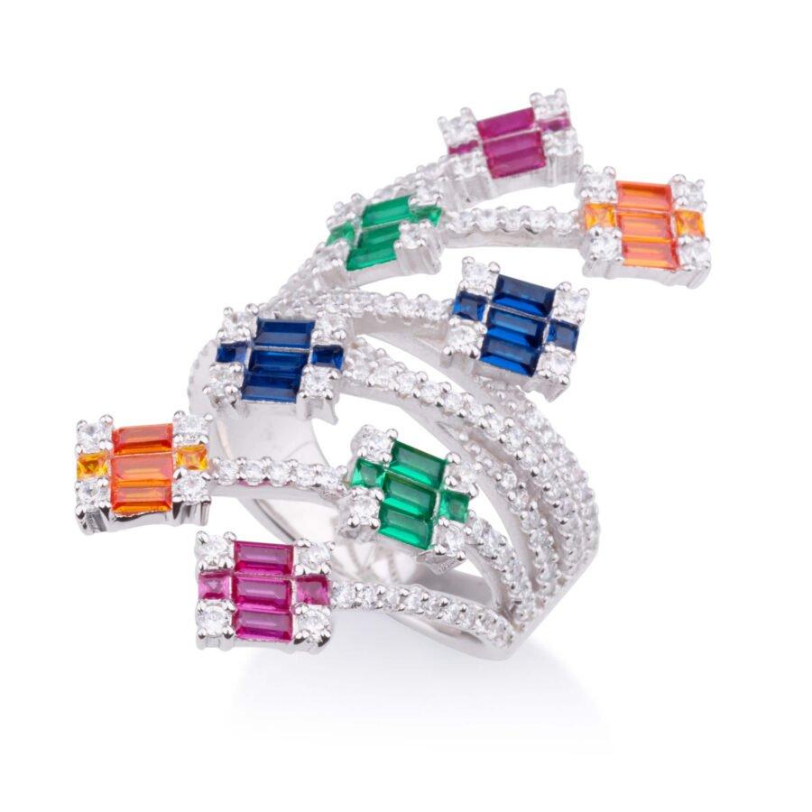 טבעת מטפסת CUBES אבנים צבעוניות