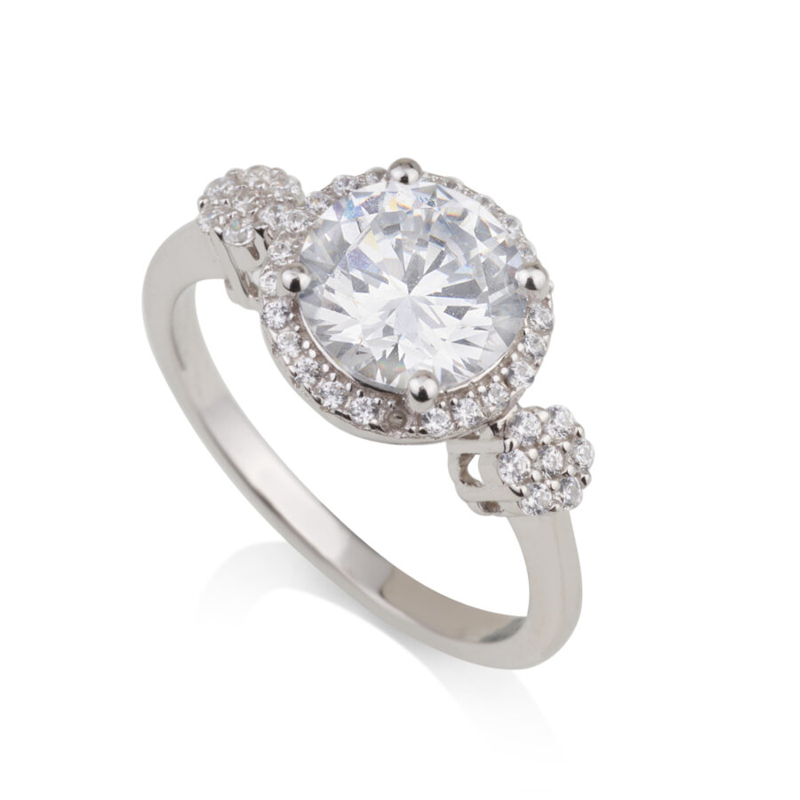 טבעת אירוסין אבן זרקוניה עגולה ושיבוץ סביבה