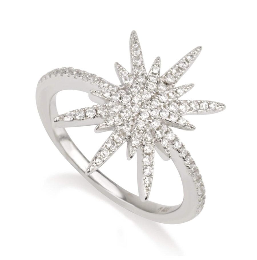 טבעת כוכב משובצת