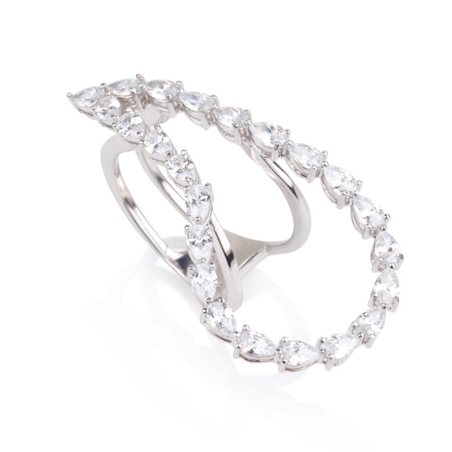 טבעת טיפה משובצת