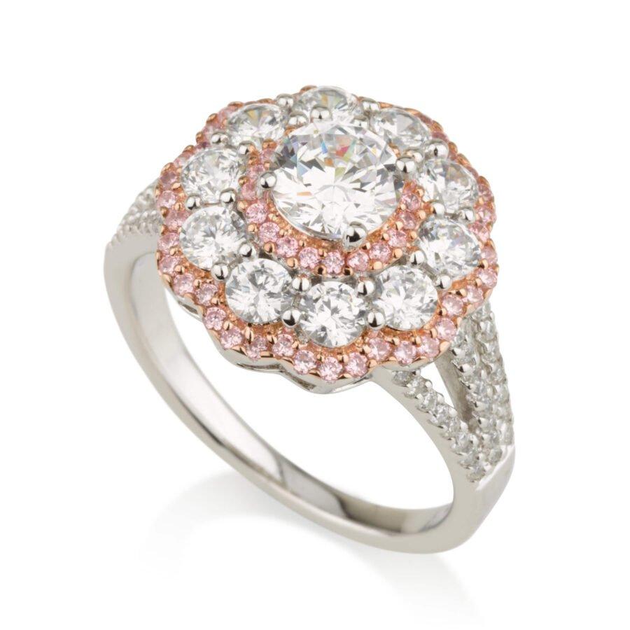 טבעת פרח משובצת זרקונים וזרקונים ורודים