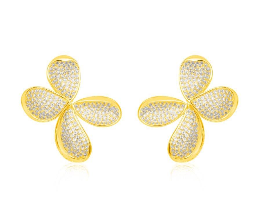 עגיל פרח משובץ צבע זהב צהוב