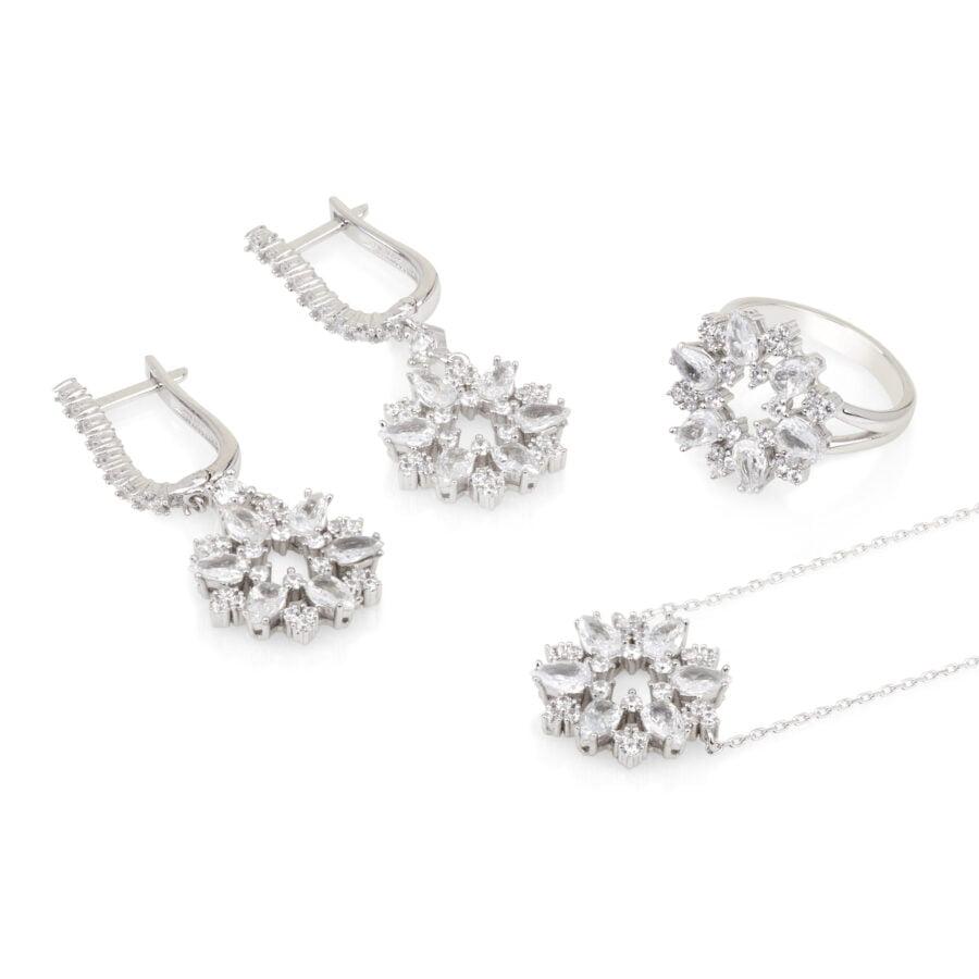 סט פרחים- טבעת שרשרת ועגילים
