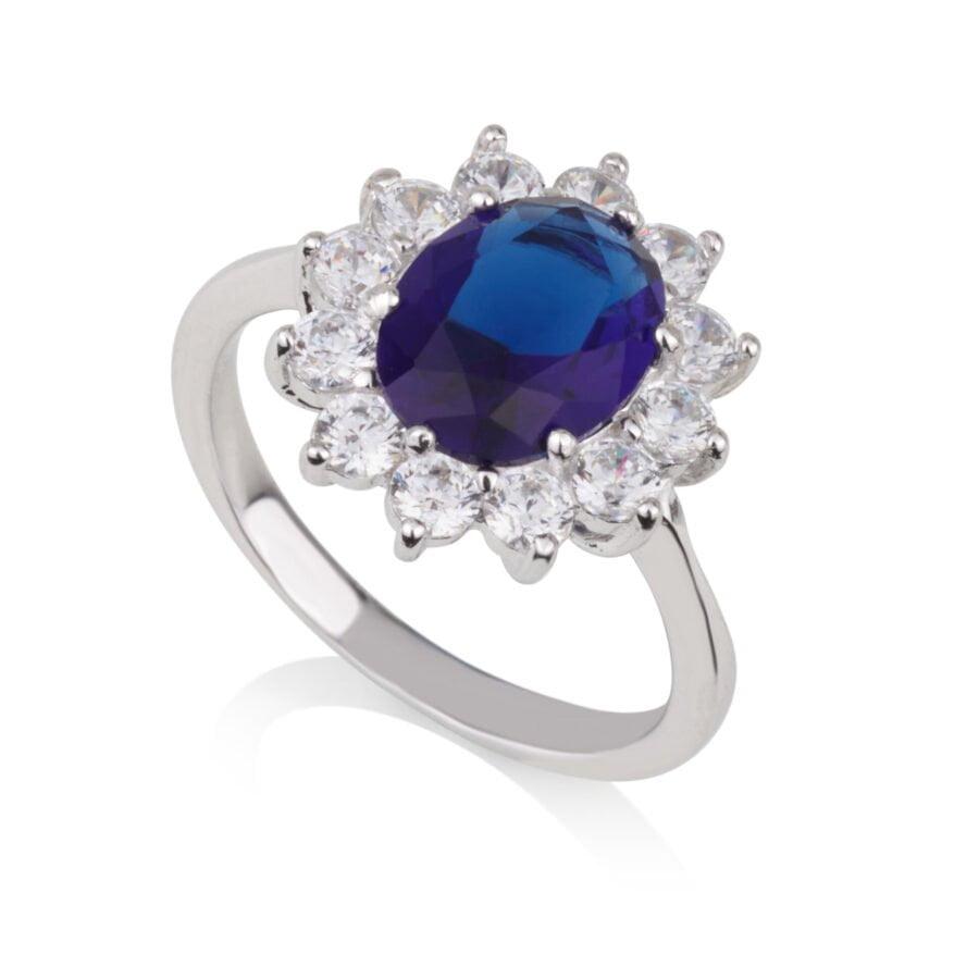 טבעת אבן כחולה ושיבוץ