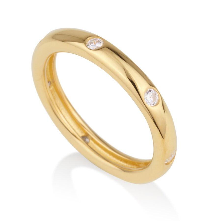 טבעת חלקה עם זרקונים