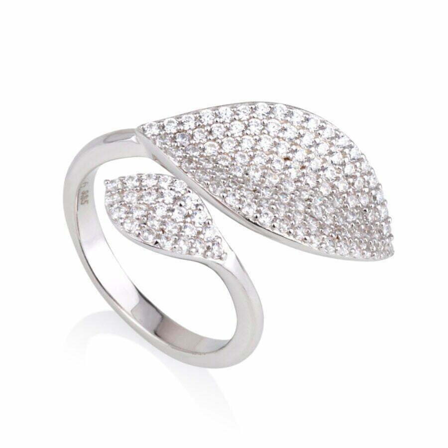 טבעת עלים משובצים זרקונים