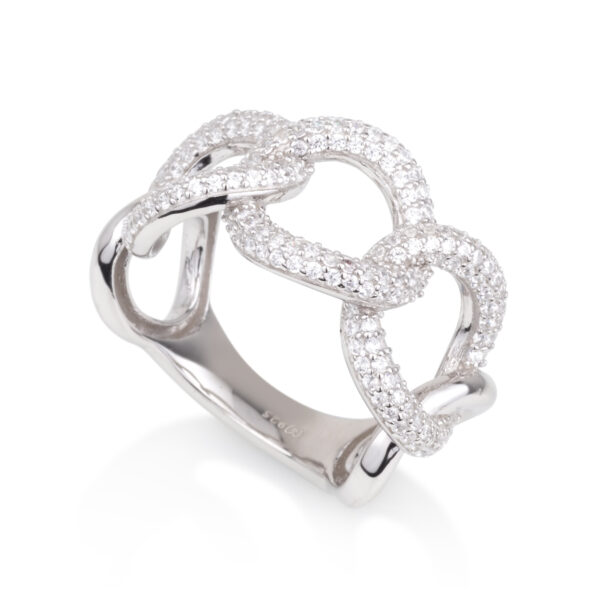 טבעת לולאות עגולות משובצות